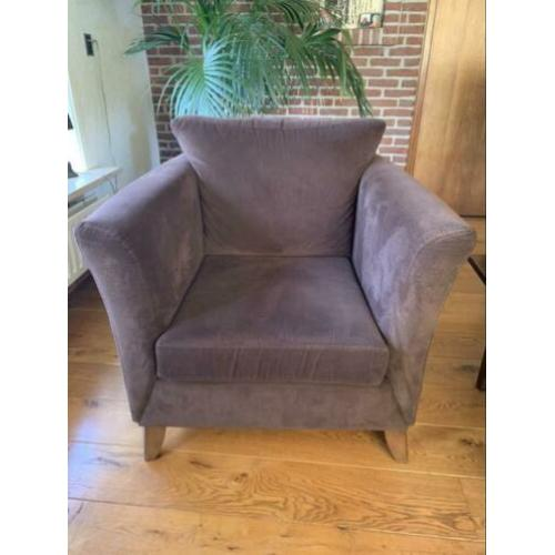 Bruine stoffen stoel fauteuil by MT